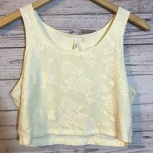 Frenchi XL Cropped Tank Ivory Floral